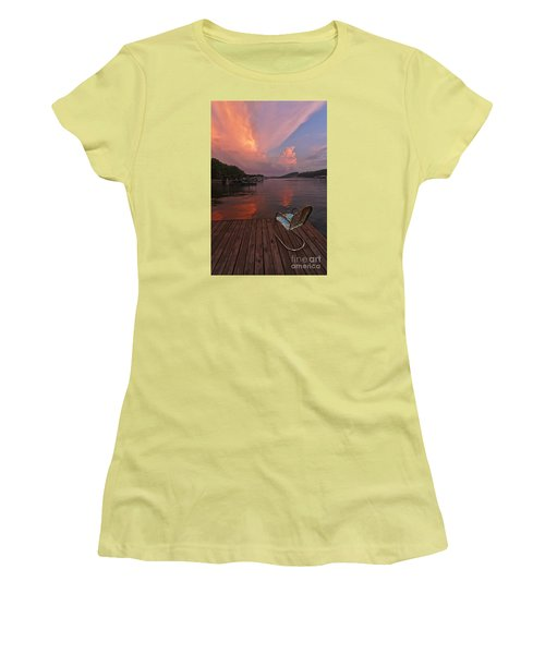 Sittin' On The Dock Women's T-Shirt (Junior Cut) by Dennis Hedberg