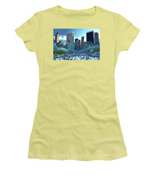 Women's T-Shirt (Junior Cut) featuring the photograph Skating Fantasy Wollman Rink New York City by Tom Wurl