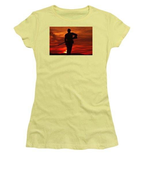 Women's T-Shirt (Junior Cut) featuring the photograph Sky Fire - 111th New York Infantry Hancock Avenue Brian Farm Cemetery Ridge Sunset Winter Gettysburg by Michael Mazaika