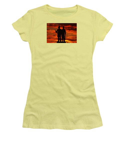 Sky Fire - 73rd Ny Infantry Fourth Excelsior Second Fire Zouaves-a1 Sunrise Autumn Gettysburg Women's T-Shirt (Junior Cut) by Michael Mazaika