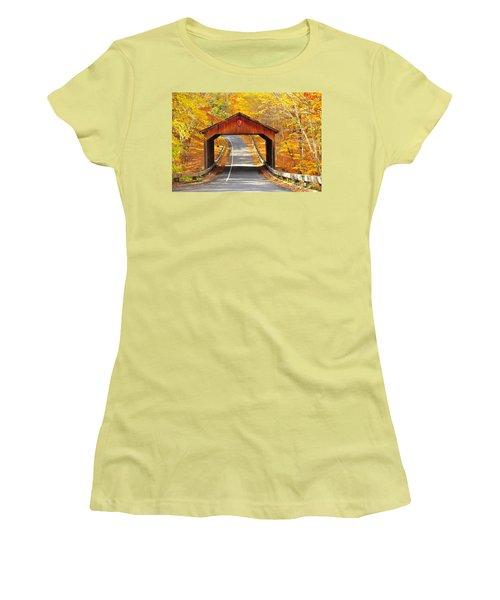 Sleeping Bear National Lakeshore Covered Bridge Women's T-Shirt (Junior Cut) by Terri Gostola