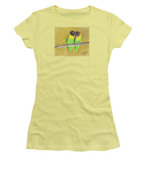 Women's T-Shirt (Junior Cut) featuring the pastel Sleeping Love Birds by David Jackson