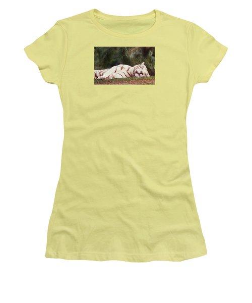 Sleeping White Snow Tiger Women's T-Shirt (Junior Cut) by Belinda Lee