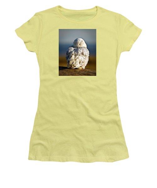 Sleeping Snowy Owl Women's T-Shirt (Junior Cut) by Steve McKinzie