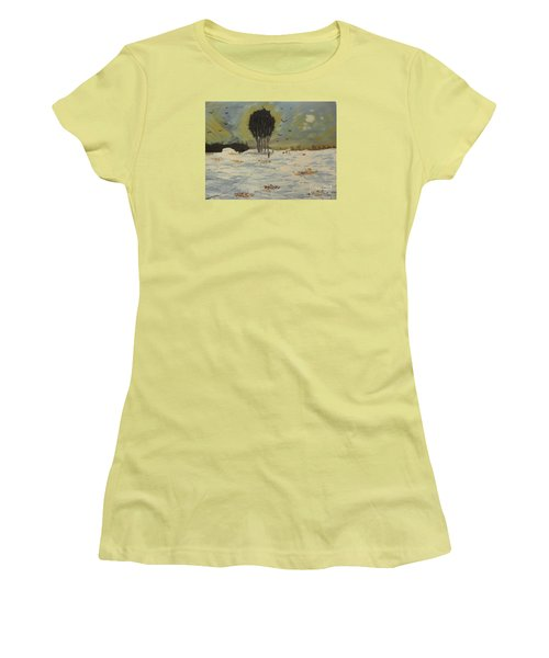 Women's T-Shirt (Junior Cut) featuring the painting Snow At Christmas by Pamela  Meredith