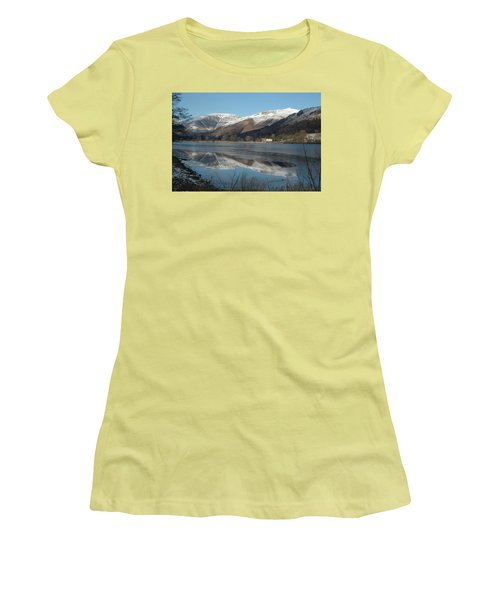 Snow Lake Reflections Women's T-Shirt (Junior Cut) by Kathy Spall