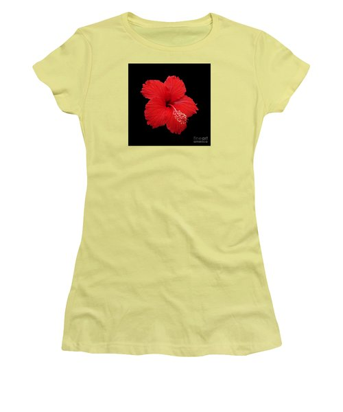 Women's T-Shirt (Junior Cut) featuring the photograph Snowflake Hibiscus by Judy Whitton