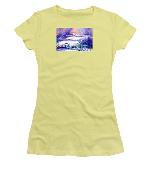 Snowstorm Over Eagle Hill Hacketstown  Women's T-Shirt (Athletic Fit)