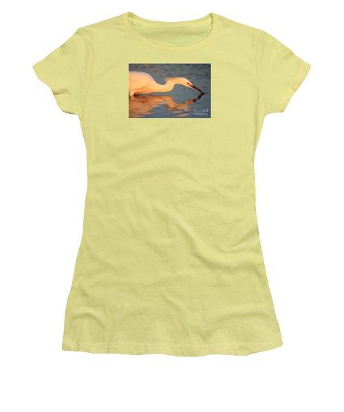 Women's T-Shirt (Junior Cut) featuring the photograph Snowy Egret Mirror by John F Tsumas