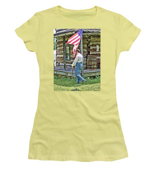 Women's T-Shirt (Junior Cut) featuring the photograph Soldier At Bedford Village Pa by Kathy Churchman