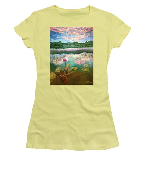 Women's T-Shirt (Junior Cut) featuring the painting Solitary Bloom by Belinda Low