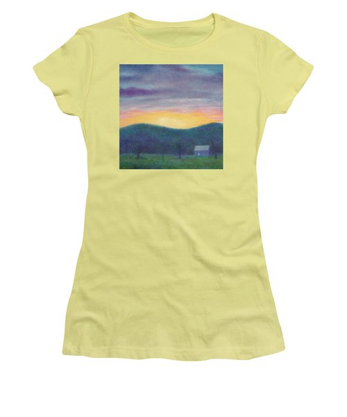 Women's T-Shirt (Athletic Fit) featuring the painting Blue Yellow Nocturne Solitary Landscape by Judith Cheng