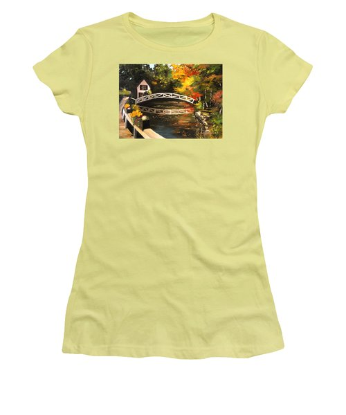 Somesville Maine Footbridge Women's T-Shirt (Athletic Fit)