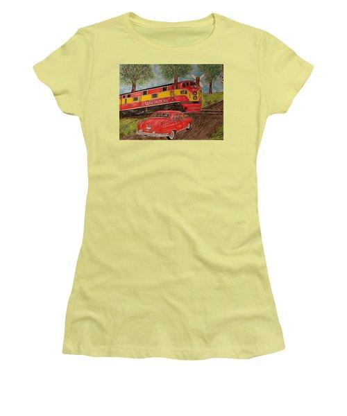 Southern Pacific Train 1951 Kaiser Frazer Car Rr Crossing Women's T-Shirt (Junior Cut) by Kathy Marrs Chandler