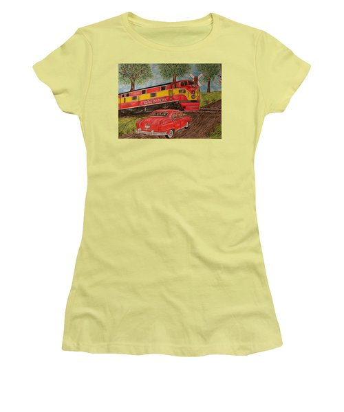 Southern Pacific Train 1951 Kaiser Frazer Car Rr Crossing Women's T-Shirt (Athletic Fit)