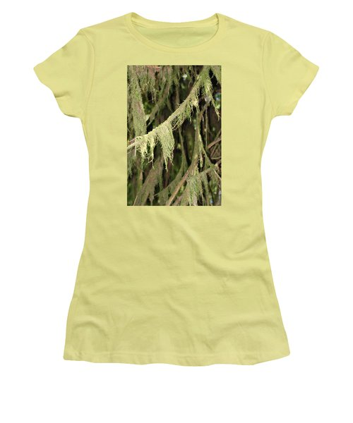Spanish Moss In Olympic National Park Women's T-Shirt (Junior Cut) by Connie Fox