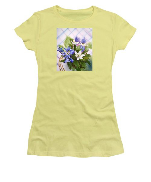 Women's T-Shirt (Athletic Fit) featuring the painting Spring Flowers by Irina Sztukowski