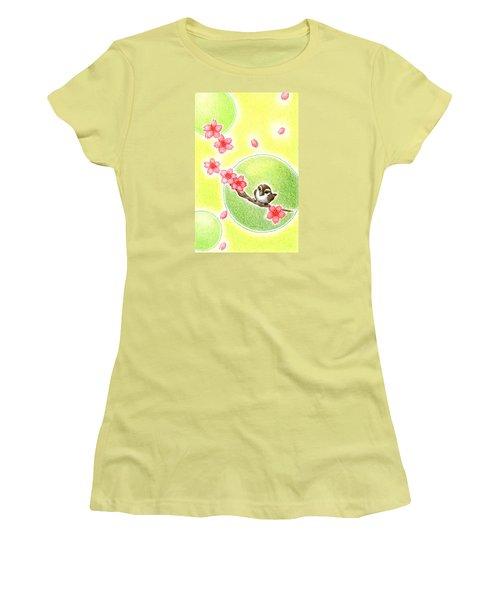 Women's T-Shirt (Junior Cut) featuring the drawing Spring by Keiko Katsuta