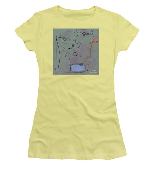 Women's T-Shirt (Junior Cut) featuring the painting Squigglehead With Blue Scarf And Red Ear  by Paul Davenport