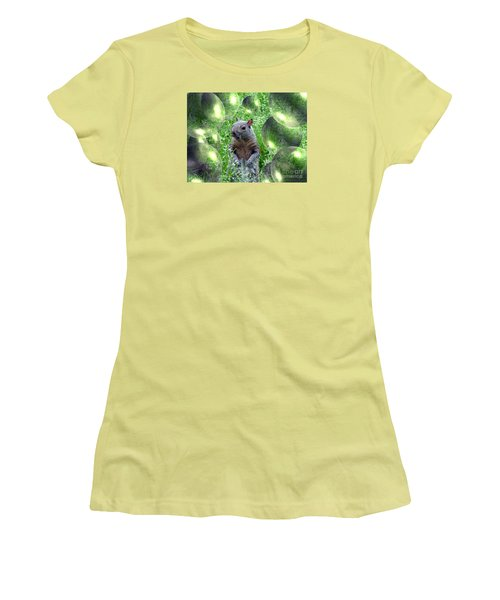 Squirrel In Bubbles Women's T-Shirt (Athletic Fit)