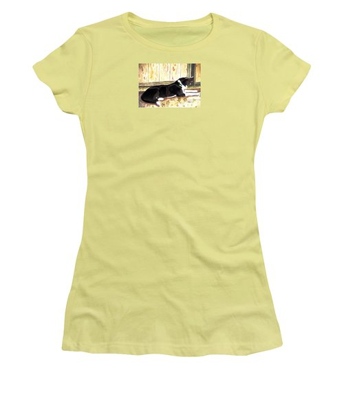 Women's T-Shirt (Junior Cut) featuring the painting Stable Duty by Angela Davies