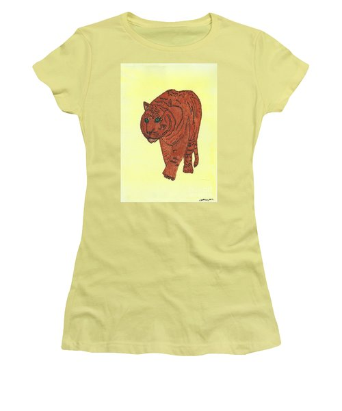 Stalking Tiger Women's T-Shirt (Junior Cut) by Tracey Williams