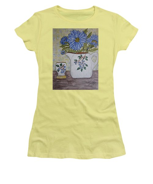 Stangl Blueberry Pottery Women's T-Shirt (Junior Cut) by Kathy Marrs Chandler