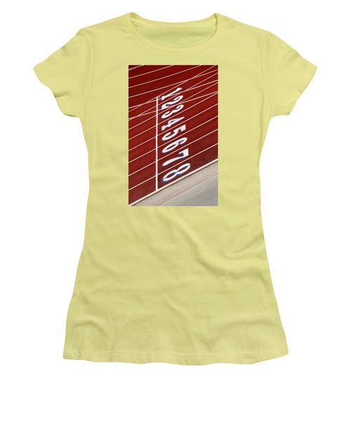 Track Starting Line Women's T-Shirt (Junior Cut) by Phil Cardamone