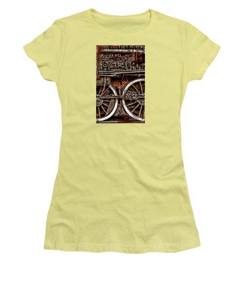 Steampunk- Wheels Locomotive Women's T-Shirt (Athletic Fit)