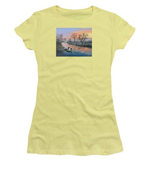 Women's T-Shirt (Junior Cut) featuring the painting Still Beauty by Vesna Martinjak