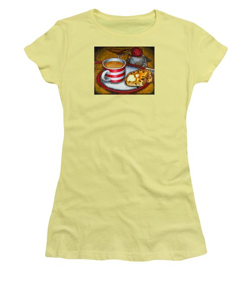 Women's T-Shirt (Junior Cut) featuring the painting Still Life With Red Touring Bike by Mark Howard Jones
