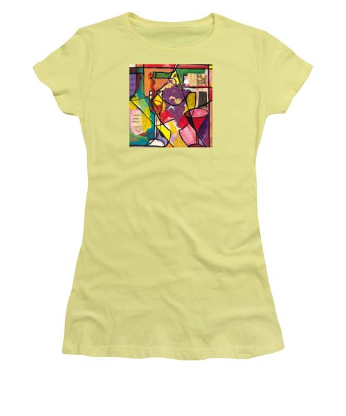 Still Life With Wine And Fruit B Women's T-Shirt (Junior Cut) by Everett Spruill