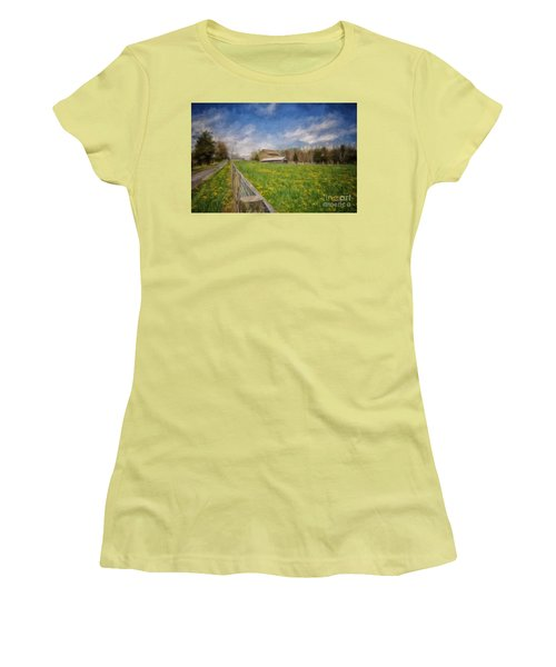 Stone Barn On A Spring Morning Women's T-Shirt (Junior Cut) by Lois Bryan