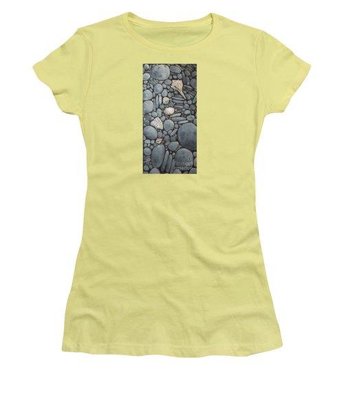 Stone Beach Keepsake Rocky Beach Shells And Stones Women's T-Shirt (Junior Cut) by Mary Hubley