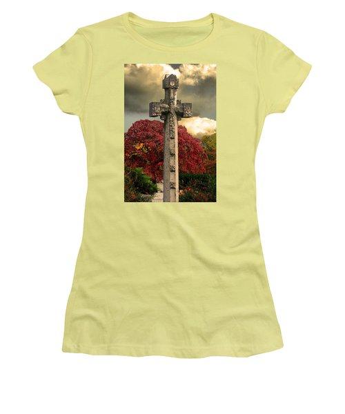 Women's T-Shirt (Junior Cut) featuring the photograph Stone Cross In Fall Garden by Lesa Fine