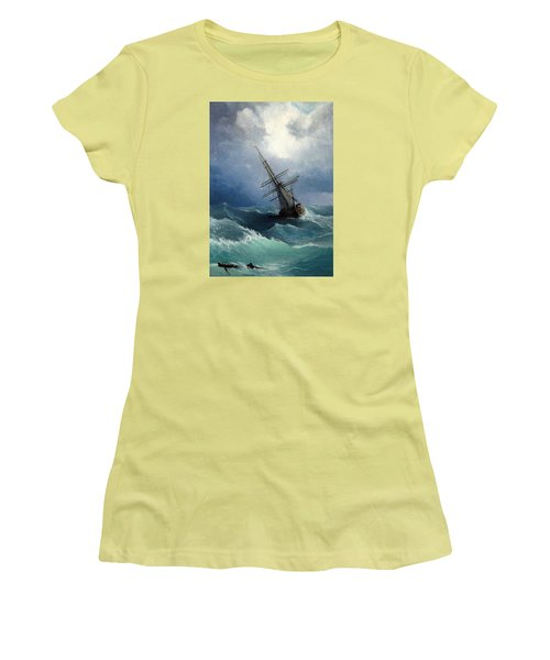 Women's T-Shirt (Junior Cut) featuring the painting Storm by Mikhail Savchenko