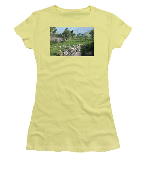 Women's T-Shirt (Junior Cut) featuring the photograph Stream Trees House And Mountains Swat Valley Pakistan by Imran Ahmed