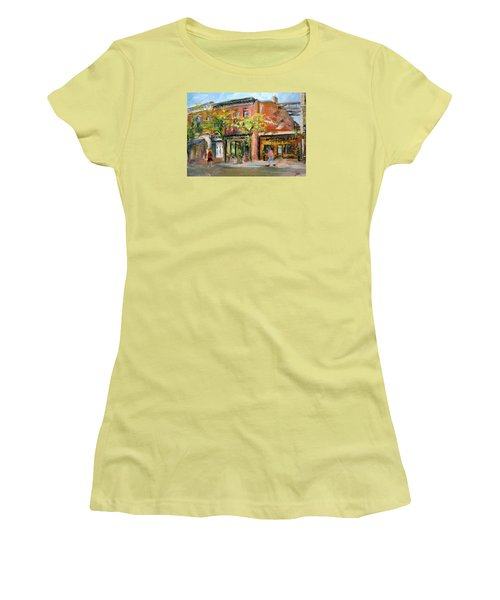 Women's T-Shirt (Junior Cut) featuring the painting Street View by Jieming Wang