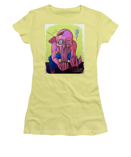 Women's T-Shirt (Junior Cut) featuring the drawing Stretching The Truth by Michael  TMAD Finney