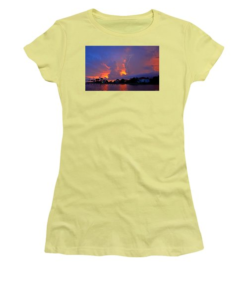 Women's T-Shirt (Junior Cut) featuring the photograph Strike Up The Middle At Sunset by Jeff at JSJ Photography