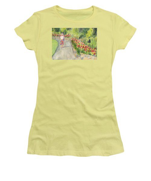 Women's T-Shirt (Junior Cut) featuring the painting Strolling Butchart Gardens by Vicki  Housel