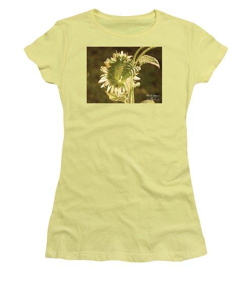 Women's T-Shirt (Junior Cut) featuring the photograph Sun-lite Sunflowwer by Donna Brown