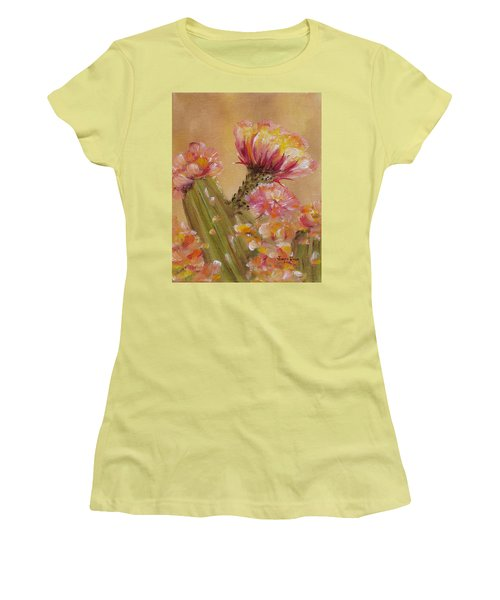 Women's T-Shirt (Athletic Fit) featuring the painting Sun Worshipper by Judith Rhue