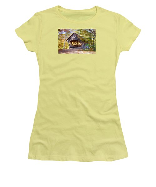 Sunday River Covered Bridge Women's T-Shirt (Junior Cut) by Jeff Folger