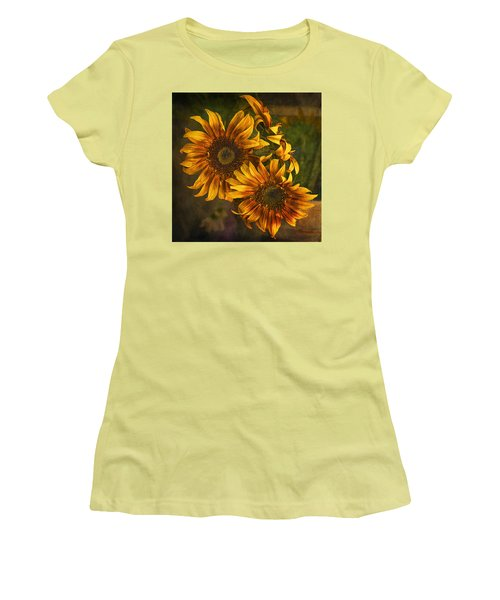 Women's T-Shirt (Junior Cut) featuring the photograph Sunflower Trio by Priscilla Burgers