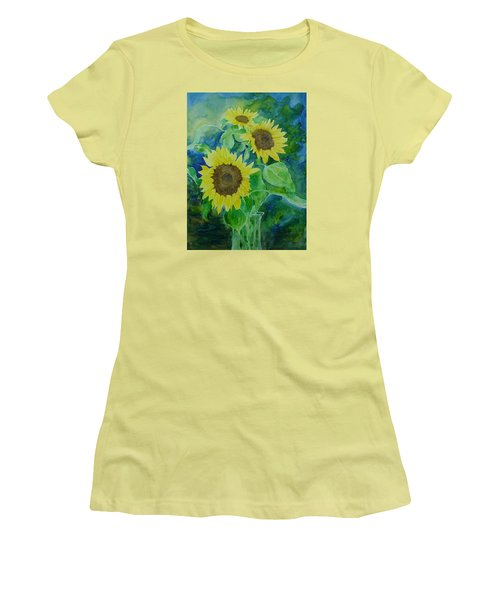 Sunflowers Colorful Sunflower Art Of Original Watercolor Women's T-Shirt (Athletic Fit)