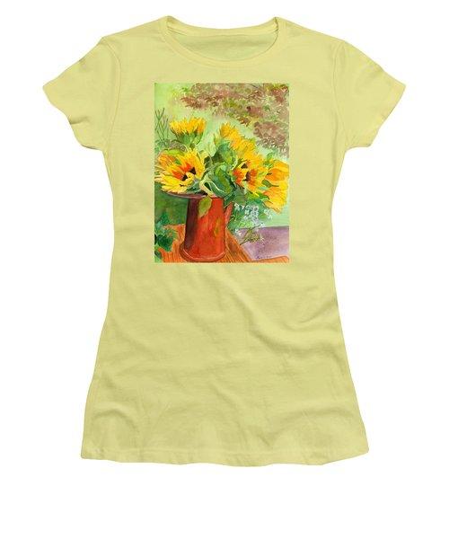 Sunflowers In Copper Women's T-Shirt (Junior Cut) by Lynne Reichhart