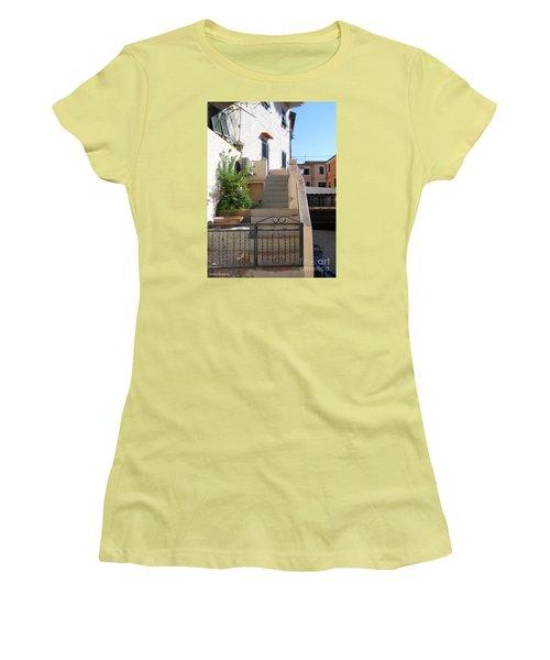 Women's T-Shirt (Junior Cut) featuring the photograph Sunny Tuscany Village by Ramona Matei