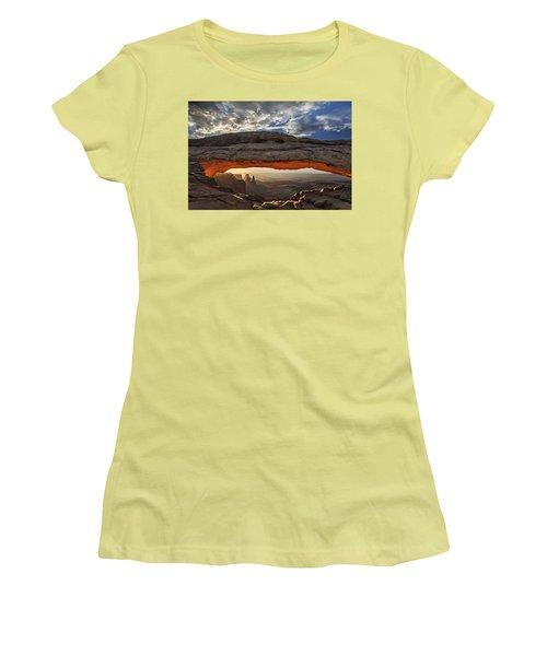 Sunrise At Mesa Arch Women's T-Shirt (Junior Cut) by Roman Kurywczak