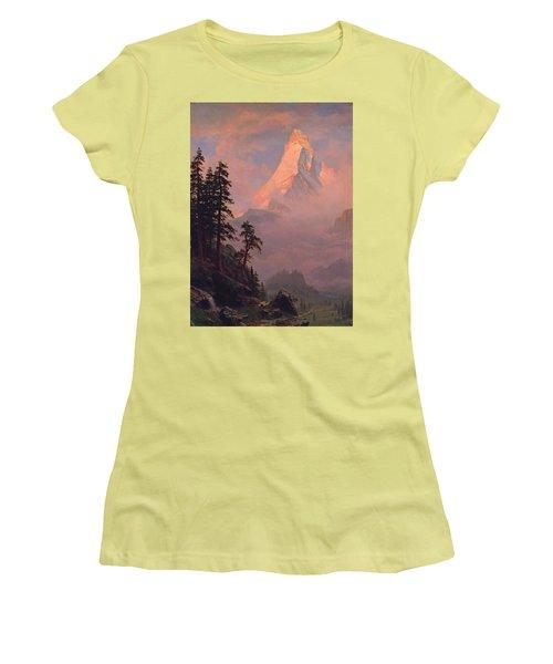 Sunrise On The Matterhorn Women's T-Shirt (Junior Cut) by Albert Bierstadt